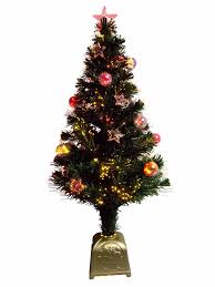 multi colour with bauble u0026 star decorations fibre optic tree