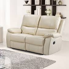 2 Seat Leather Reclining Sofa by Cameo Ivory Cream Leather Reclining Sofa Collection