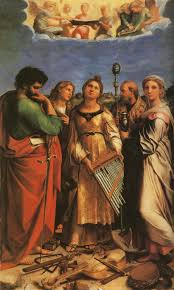 st cecilia with sts paul evangelists augustine and