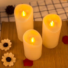 3 candle electric light flickering flameless candle lights led pillar electric candles pack
