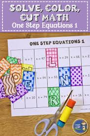 one step equations 1 solve color cut