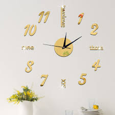 amazon com 3d diy hanging clock wall murals decal sticker chezmax amazon com 3d diy hanging clock wall murals decal sticker chezmax acrylic wallpaper for home decoration kitchen living room decor decorative office gold