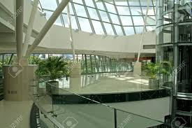 modern corporate interior lobby design with glass and steell stock