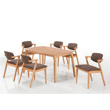 Beech Dining Room Furniture by Elsa 7 Piece Solid Wood Dining Table And Chair Set Natural Beech