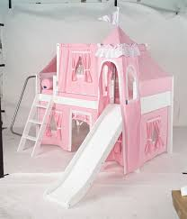 maxtrix princess castle bed w angled ladder and slide soft pink