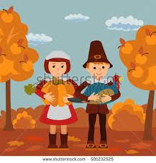 thanksgiving day children apples turkey vector stock vector