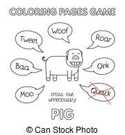 vector funny pig coloring book illustration funny pig