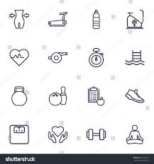 set 16 bodybuilding outline icons setcollection stock vector