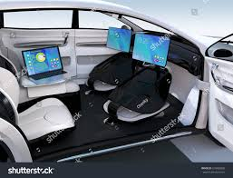 autonomous car interior design concept new stock illustration
