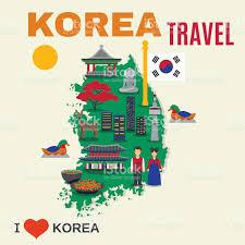 Korea Map Asia by Korean Culture Symbols Map Travel Poster Stock Vector Art