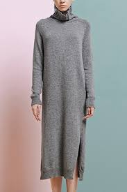 slit sweater gray high collar sleeve side slit sweater dress sleeve