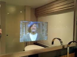 bold design mirror bathroom tv bathroom behind with inside
