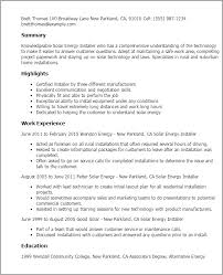 Sample Resume For All Types Of Jobs by Professional Solar Energy Installer Templates To Showcase Your