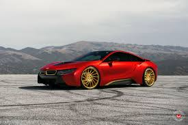 matte bmw i8 bmw i8 wrapped in red gets golden wheels