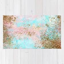 pink and gold mermaid sea foam glitter rug by betterhome society6