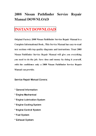 2008 nissan pathfinder service repair manual download