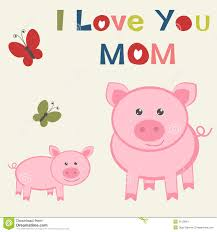 mother s day card with pig and piglet royalty free stock
