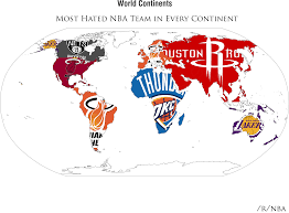map of nba teams the most hated teams results are in i made two maps from