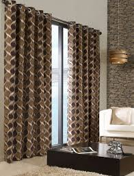 Brown Patterned Curtains Stylish Trendy Ringtop Eyelet Lined Circle Pattern Curtains Beige