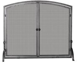 amazon com uniflame single panel iron fireplace screen with doors