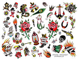 collection of 25 traditional tattoo flash