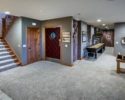 exciting conventional basement with gray fur basement carpet ideas
