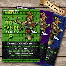 luxury teenage mutant ninja turtles birthday invite cards saflly