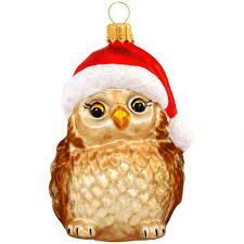 owl with santa hat glass ornament bronner s