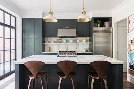 White Kitchen Black Island Gray Black Kitchen Cabinets With Shiny Brass Knobs Contemporary