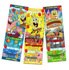 spongebob birthday party invitation ticket sponge bob 1st c1