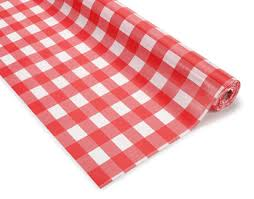 100 and white checker plastic table cover roll