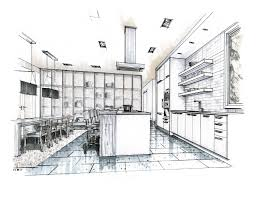 Kitchen Drawings Hand Drawn Perspective Rendering Hand Rendering Mick Ricereto