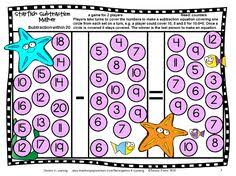 subtraction board games with sea friends is a set of 27 printable