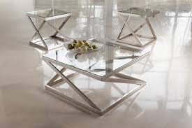 Table Glass Top Brushed Metal Square Cocktail Table With Clear Tempered Glass Top