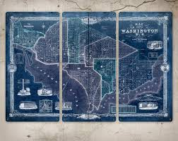 Map Of Washington D by Old Map Of Washington Dc Metal Triptych 36x24 Free