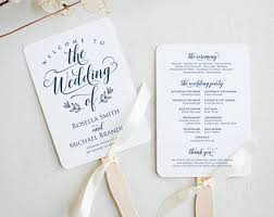 fan wedding program template wedding fan template etsy