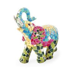 buy coloured mosaic resin elephant garden or home feature ornament