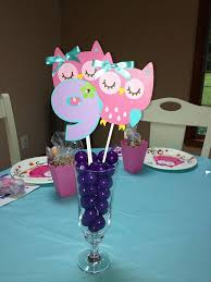 party centerpieces 3 colorful owl birthday party centerpiece by sweetheartpartyshop
