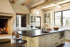 kitchen fireplace design ideas gorgeous kitchen features rustic box beams an ivory center