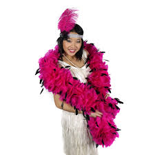 turkey feather boa boas with stripped coque shocking pink black