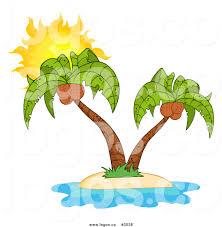 royalty free vector of a coconut palm tree island and sun