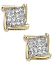 gold diamond earrings diamond accent square stud earrings in 10k white yellow or