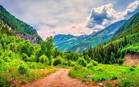 mountains beautiful road mountains nature clouds trees forest sky
