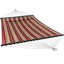 red quilted double fabric hammock w spreader bar and pillow by