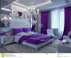 Gray And White Bedroom 3d Rendering Bedroom In Gray And White Tones With Purple Accents
