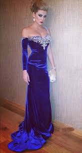 blue velvet evening dress with one sleeve open back cheap