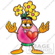 Clipart Vase Of Flowers Clip Art Graphic Of A Pink Vase And Yellow Flowers Cartoon