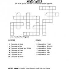 antonyms crossword puzzle have fun teaching