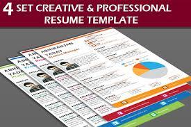 4 set creative u0026 professional resume resume templates creative