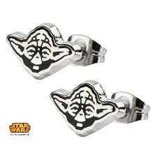 stainless steel stud earrings stainless steel wars yoda enamel stud earrings